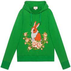 Gucci Rabbit Jersey Oversize Sweatshirt ($1,800) ❤ liked on Polyvore featuring tops, hoodies, sweatshirts, green, gucci top, gucci and gucci sweatshirt