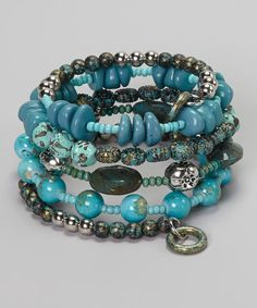Turquoise Beaded Coil Stretch Bracelet