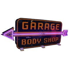 1950s Large Double-Sided Garage Body Shop Neon Sign | From a unique collection of antique and modern signs at https://www.1stdibs.com/furniture/folk-art/signs/
