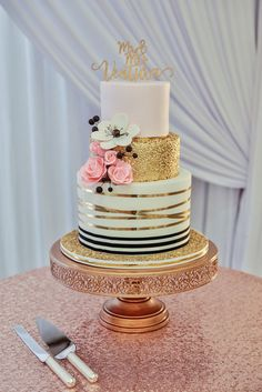 Three Tier Round Wedding Cake with BLush Pink Gold Foil Gold Ribbon and Black and White Stripe Icing Edible Black White and Pink Floral Decorations Rose Gold Cake Stand and Sequin Linen and Stylish Gold Caketopper Blush Wedding Cakes, Wedding Cake Red, Round Wedding Cakes, Wedding Cake Designs, Chic Wedding, White And Gold Wedding Cake, Elegant Wedding, Wedding Ideas, Trendy Wedding