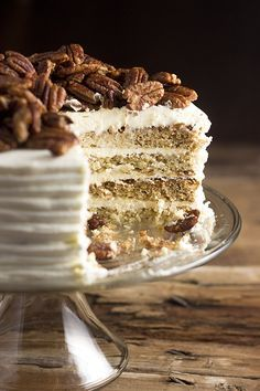 Whisk Kid: Roasted Banana Cake with Cinnamon Honey Pecans and Cream Cheese Frosting