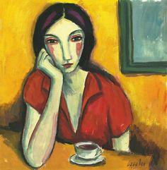 Guillermo Martí Ceballos.  Mujer en la mesa con café (2012)