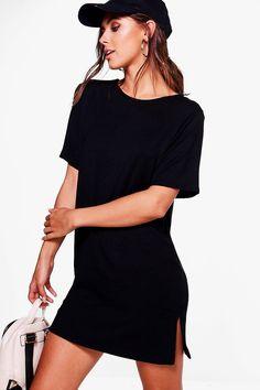 Petite Lana Split Side Oversized T-shirt Dress | Boohoo