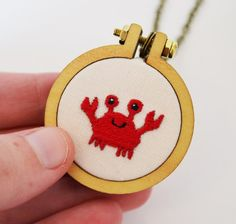 Miniature Embroidery Cute Crab Necklace or Brooch Tiny 4cm Hoop Art