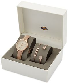 Fossil Women's Jacqueline Light Brown Leather Strap Watch 36mm & 2 Bracelets Box Set ES3870SET