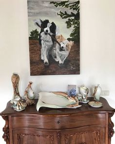 Sharing this lovely picture i just received from my last commission work from Gouda  What a perfect combination that furniture with the painting  And the painting is 1 m height but it fits perfectly  I am so happy!  #acrylicpainting #acrylverf #dogs #dogslover #dog #honden #perros #chiens #friends #painting #schilderij #pinture #artwork #kunst #artist #femaleartists #havingfun  #collie #bordercollie #blackandwhite #beige #dogsbestfriend #dogslife
