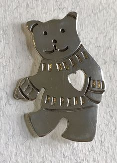 Mexican Taxco OMA TM-212 Sterling Silver Bear Pin teddy bear brooch with heart #OMA