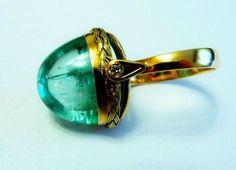 Catawiki Online-Auktionshaus: 13 Karat Smaragd und Diamant Goldring. Zertifikat ~ETS #emerald #cobochon #ring