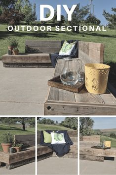 DIY Patio Sectional - Patio Furniture - Ideas of Patio Furniture - DIY patio furniture Rustic Outdoor Furniture, Rustic Patio, Diy Patio, Outdoor Dining, Outdoor Decor, Patio Ideas, Western Furniture, Outdoor Projects, Backyard Patio