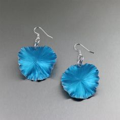 Blue Anodized #Aluminum Lily Pad Earrings - Makes a Great #10th Wedding #Anniversary Gift! - Handmade Jewelry by John S Brana by johnsbrana, $40.00