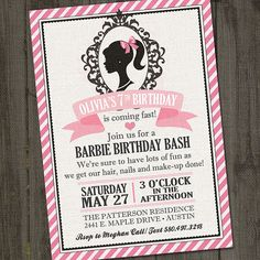 Hey, I found this really awesome Etsy listing at https://www.etsy.com/au/listing/228221237/inspired-printable-barbie-invitation