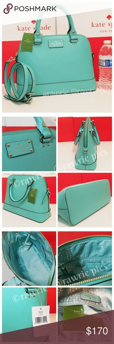 """New Kate Spade Rachelle leather Domed Satchel 100% authentic. Fresh air blue boarskin embossed cowhide with light gold plated hardware. Inside zip and slip pockets. Zip top closure and fabric lining. Handles drop 4.5"""". Longer detachable and adjustable strap for shoulder and crossbody wear. Measures 12.5"""" (L) x 9"""" (H) x 5"""" (W). Brand new with tags. Comes from a pet and smoke free home. kate spade Bags Crossbody Bags"""