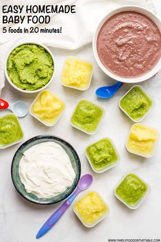 Quick and easy homemade baby food. You can make this homemade baby food broccoli zucchini squash black beans and yogurt in just 20 minutes! Pureed Food Recipes, Baby Food Recipes, Whole Food Recipes, Cooking Recipes, Veggie Recipes, Delicious Recipes, Healthy Recipes, Kids Meals, Family Meals