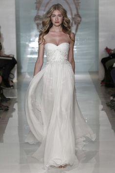 The superb Reem Acra Spring 2015 bridal collection, silk chiffon wedding dresses, column gown, silk chiffon bridal gowns, flatting fit and flare dresses