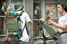 Blind Chic Scumbag Backpack (€120; roughly $150). With a name like that, it'd better be good — and this doesn't disappoint. Built from olive green waxed cotton canvas with light blue lining, it offers plenty of room for goodies on the inside, and has a front panel that's ideal for hauling skateboards around on the outside. Other features include a removable chest strap, padded shoulder straps, a roll-top closure, and two interior pockets for smaller items like phones and cards.