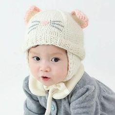 Cute cat costume hat with ear for baby winter knit ear flap hats bf2686a7f5d1