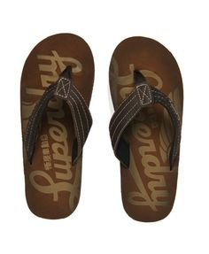 Superdry men's GT4 flip flops.  £24.99  A smart flip flop with embossed and printed leather foot bed, leather and fabric strap and synthetic sole