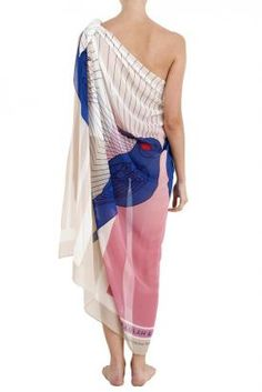 Pink And Blue Silk Summer Scarf