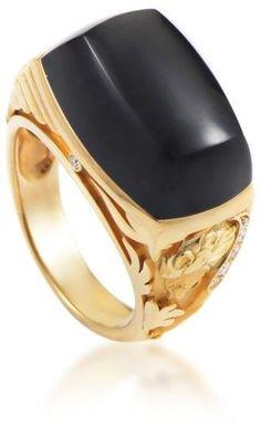 magerit 18k yellow gold babylon caramelo mini diamond u0026 onyx ring