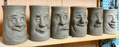 wheel thrown and hand sculpted kitchen Utensil holders- WIP Clay Mugs, Ceramic Mugs, Ceramic Pottery, Ceramic Art, Pottery Mugs, Face Jugs, Clay Faces, Stone Crafts, Utensil Holder