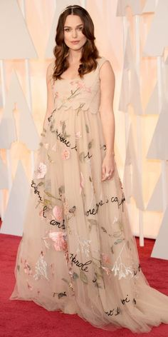 Academy Awards 2015 Red Carpet Arrivals - Keira Knightley in Valentino from #InStyle #Oscars