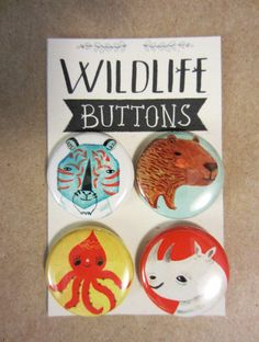 WildLife Buttons/Capybara and Friends by Sarah Walsh.via Etsy.