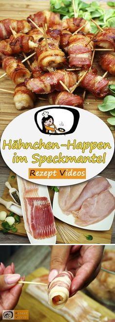 Chicken bites wrapped in bacon Recipe with video - party recipe .- Chicken bites wrapped in bacon, recipe videos, simple recipes, chicken recipes, delicious recipes - Wrap Recipes, Bacon Recipes, Brunch Recipes, Chicken Recipes, Simple Recipes, Delicious Recipes, Recipe Chicken, Vegetarian Recipes, Meat Appetizers