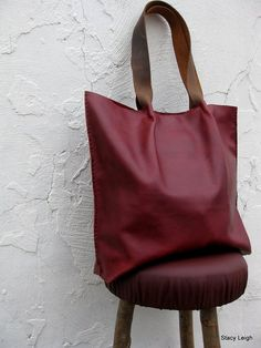 Leather Shopper Tote Bag in Dark Red Oxblood