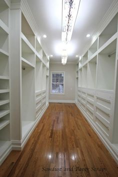 """Master Closet with white built-in wardrobes - Sanded Ply. There aren't any exposed edges as the whole thing has a faceframe. The base is 2×6 as I have 6″ baseboards in my house. Although I couldn't find a match and ended up having to stack the base in the closet but the original intention was to continue with the 6″ base. 24"""" deep cabinets - could go standard depth of 18""""."""