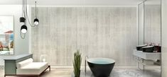 Finally, a super modern bath is a relaxing retreat after a long day.Redecorate online with your own furniture! noneed2buy.com