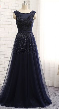 A dark blue dress evening party a chiffon beauty Beaded formal dress ball gown for a trade
