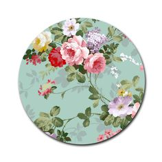 Vintage Elegant Pink Red Roses Pattern 8'' Round Mousepad White 8''... ($8.99) ❤ liked on Polyvore featuring home, home decor, pink home decor, white home decor, white home accessories, red home decor and red home accessories