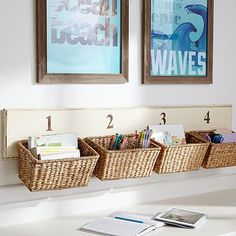 Basket Wall Organizer - one for each of the kids - put in the kitchen & keep things off the counters!
