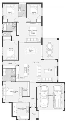 Squeeze bedroom 2 to expand the master en Suite by sliding the pantry up - Santa Monica 4 Bedroom House Plans, New House Plans, Dream House Plans, House Floor Plans, Santa Monica, One Level Homes, Home Design Floor Plans, Container House Design, House Blueprints