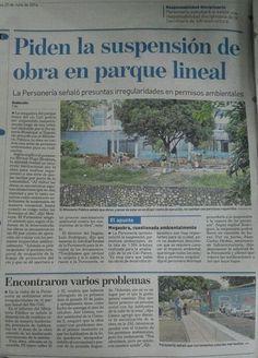 Prensa:  Vía ADN Cali: Piden la suspensión de obra en Parque Lineal Río Cali