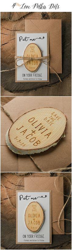 Save the Date ! Wedding card with wooden magnet - put me on your fridge ! #weddingideas #savethedate #wood #magnet #wedding #reminder #rustic #eco #kraftpaper #ecofiendly