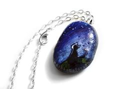 Black Cat Pendant Necklace Hand Painted Stone by rainbowofcrazy, $22.00