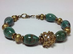 Bloodstone and brass bracelet brass cage bead by GingerandNoise, $40.00