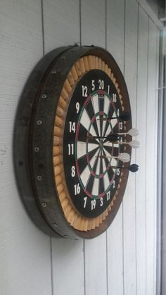 Barrel Projects, Wood Projects, Free Shipping, Movie Theater Rooms, House Games, Bottle Cap Crafts, Bourbon Barrel, Dart Board, Ideas