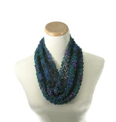 This gorgeous knit cowl, spring scarf, hand knit cowl, fashion scarf, gift for her is knitted with a boucle like yarn in a beautiful forest green