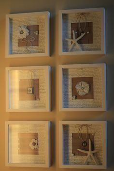 Frames on clearance from IKEA (spray painted), French script stamped photo mats filled with burlap, twine, cloth flowers, glass pearls and starfish.