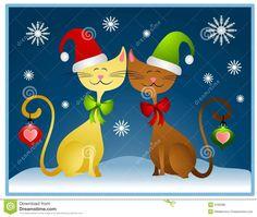 christmas cats clip art | Royalty Free Stock Image: Cartoon Christmas Cats Holiday Card