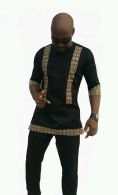 Odeneho Wear Men's Black Polished Cotton Top/ by Odenehowear