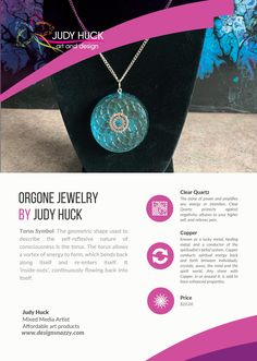 Orgone jewelry by Judy Huck Affordable Art, Clear Quartz, Geometric Shapes, Framed Art Prints, Washer Necklace, Symbols, Stone, Jewelry, Design