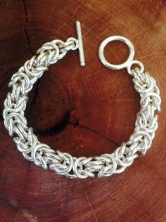 Byzantine pattern chain in sterling silver. Over 90 grams in weight. By Gecko Skin Jewellery.
