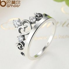 BAMOER 925 Sterling Silver Crown Ring with CZ for Women Wedding ,Fine Jewelry  #Bamoer