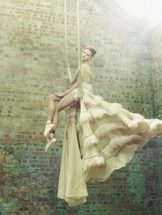 Trapeze in a big gown and pointe shoes!