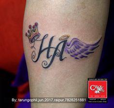 initial name tattoo by tarun gohil at crazy ink tattoo studio in raipur  #tattooart #crazyink #initialname #name #tattooartist #raipur #feather #wings #crowntattoo #tattooink #tattooidea