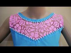 Stylish Boat Neck Design With Net Cutting And Stitching - YouTube