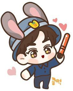 Exo Fan Art, Xiuchen, Suho Exo, Kpop, Chibi, Pikachu, Minnie Mouse, Disney Characters, Fictional Characters